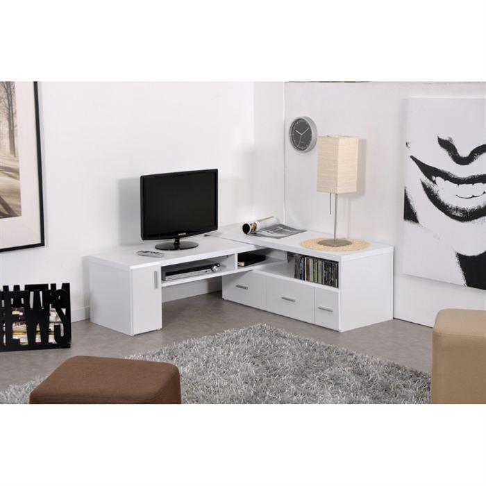 Aucune slide meuble tv extensible blanc 265740 for Meuble hifi blanc