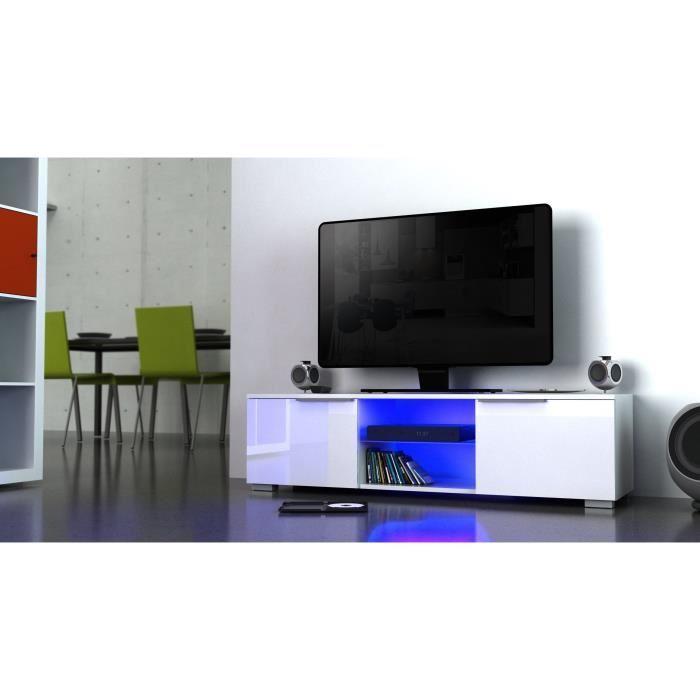 Studio meuble tv avec eclairage led 104 cm blanc haute for Meuble tv haut blanc