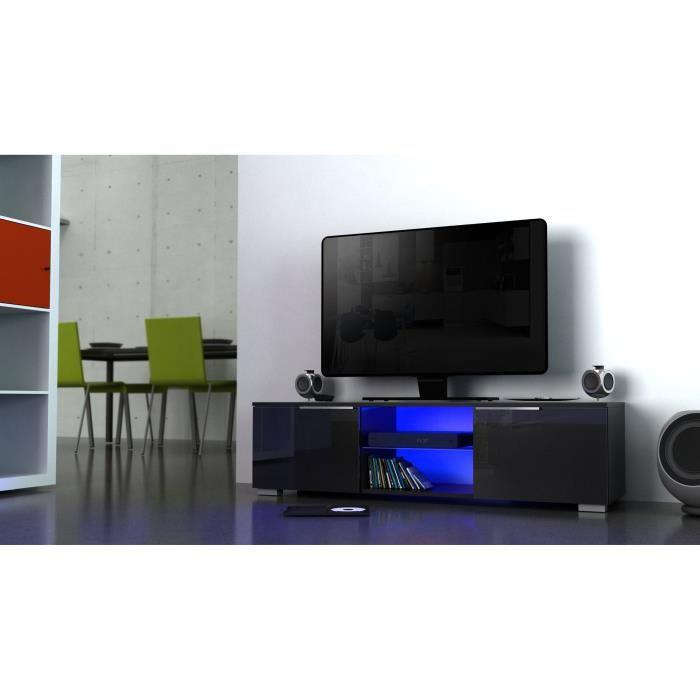 studio meuble tv avec eclairage led 104 cm noir haute brillance 350715. Black Bedroom Furniture Sets. Home Design Ideas