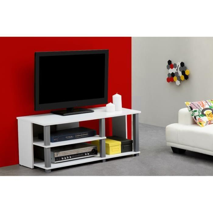 aucune telma meuble tv 100cm blanc 314369. Black Bedroom Furniture Sets. Home Design Ideas