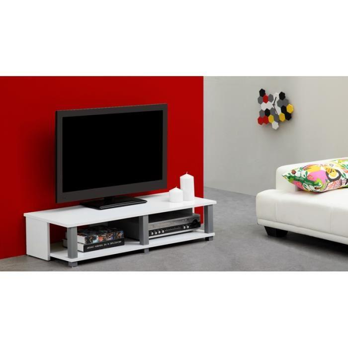 aucune tivoli meuble tv 100cm blanc 247662. Black Bedroom Furniture Sets. Home Design Ideas