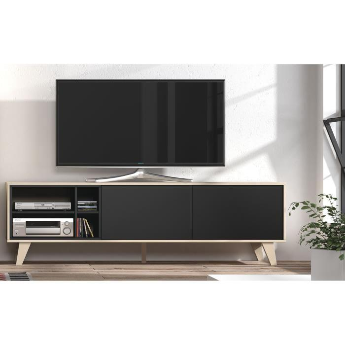 aucune zaiken meuble tv 180 cm gris anthracite et decor chene 367277. Black Bedroom Furniture Sets. Home Design Ideas