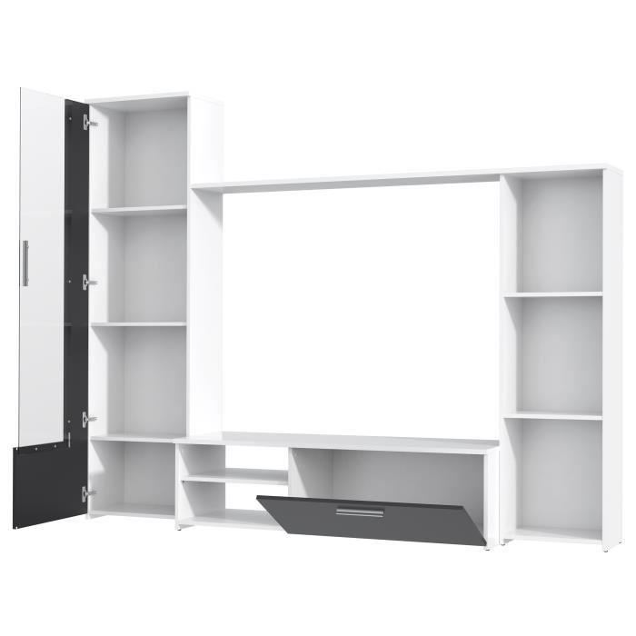 swan meuble tv d 39 angle contemporain laque blanc brillant l 102 cm 542517. Black Bedroom Furniture Sets. Home Design Ideas