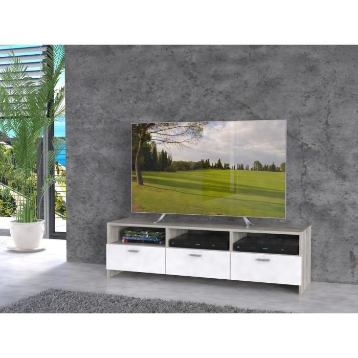 Finlandek meuble tv helppo 120cm decor chene et blanc 349190 for Meuble tv finlandek