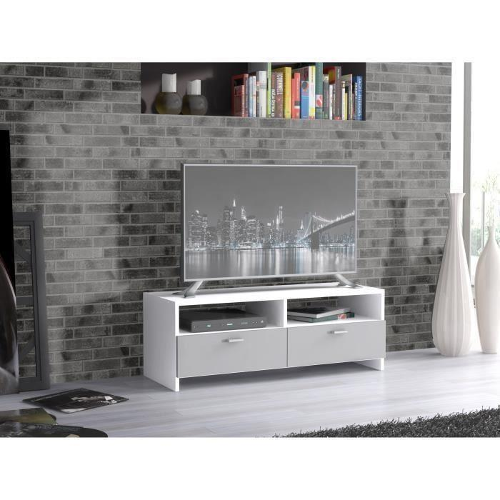 Finlandek salon finlandek meuble tv helppo 95cm blanc for Meuble salon gris et blanc