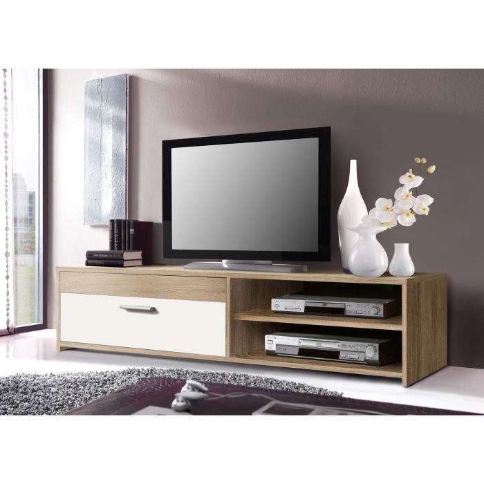 finlandek meuble tv katso 120cm decor chene sonoma et blanc brillant 349192. Black Bedroom Furniture Sets. Home Design Ideas