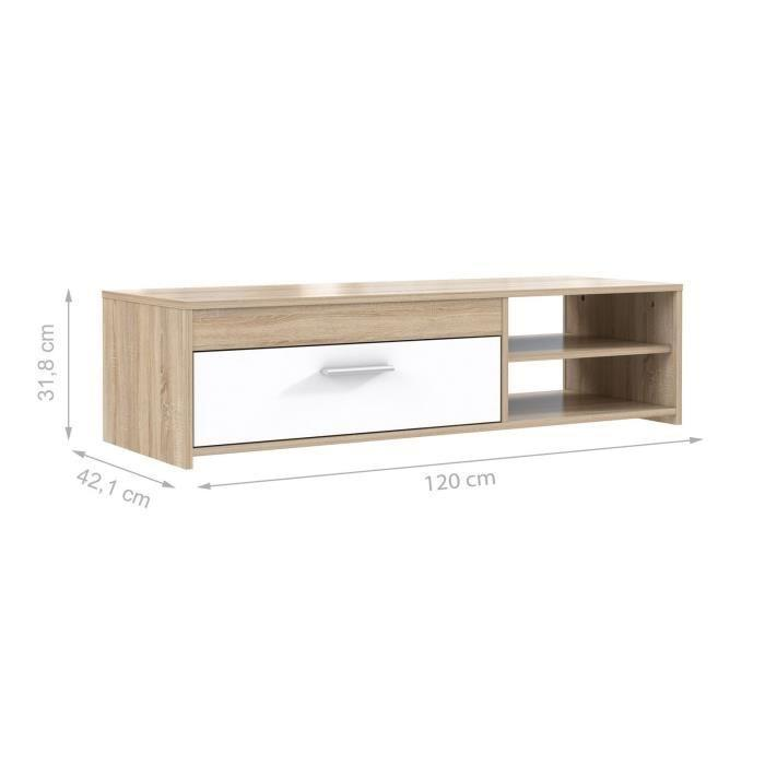 Finlandek meuble tv katso 120cm decor chene sonoma et for Meuble tv finlandek