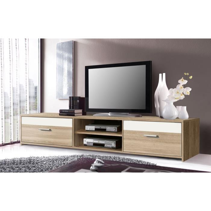 finlandek meuble tv katso 160cm d cor chene sonoma et blanc brillant 354987. Black Bedroom Furniture Sets. Home Design Ideas