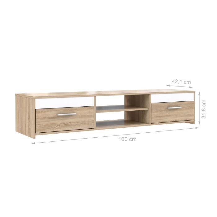 Finlandek meuble tv katso 160cm d cor chene sonoma et - Meuble tv chene et blanc ...
