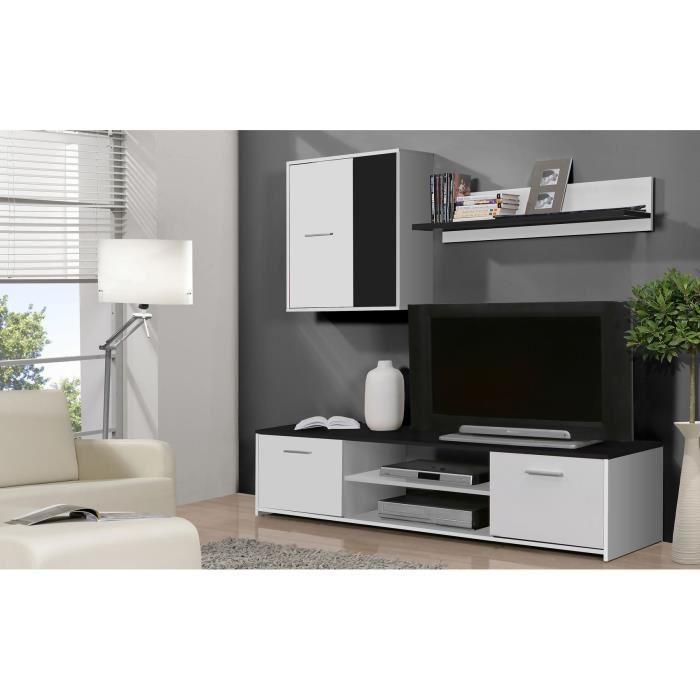 Finlandek Meuble Tv Mural Katso 160cm Blanc Et Noir 354985