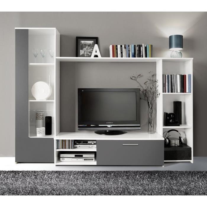 Finlandek salon finlandek meuble tv helppo 95cm blanc et gris 349188 for Meuble salon gris