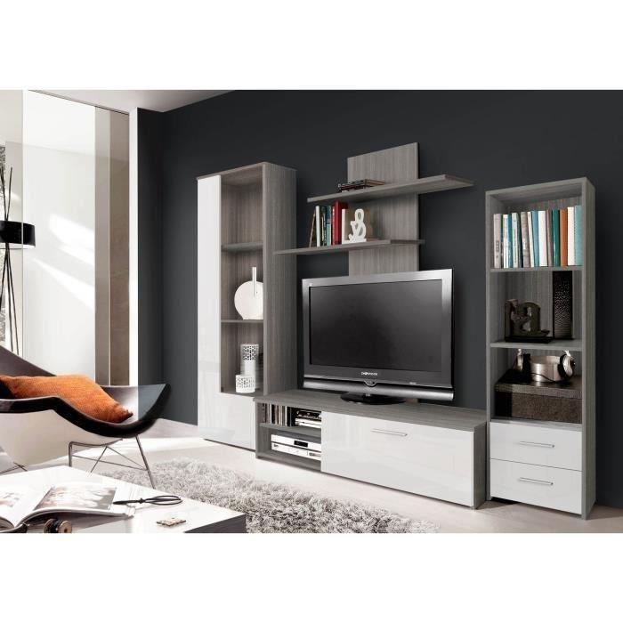 FINLANDEK Meuble TV mural PYSYÄ 230 cm  Décor chene gris et blanc brillant 3 -> Meuble Tv Hifi Mural