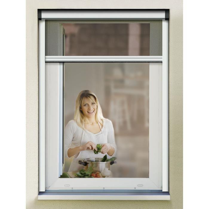 Rm moustiquaire store enrouleur pour porte et fenetre 100x160cm blanc 355945 Moustiquaire pour porte fenetre