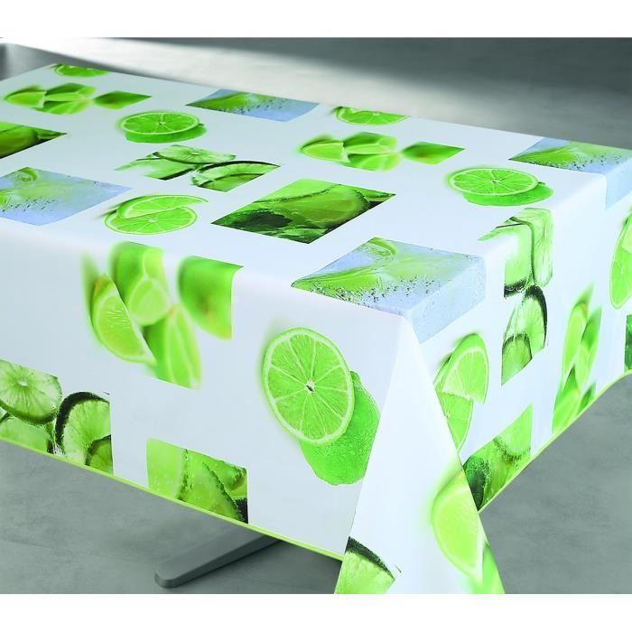 aucune nappe enduite rectangulaire 145x240 cm blanc vert et jaune 361018. Black Bedroom Furniture Sets. Home Design Ideas