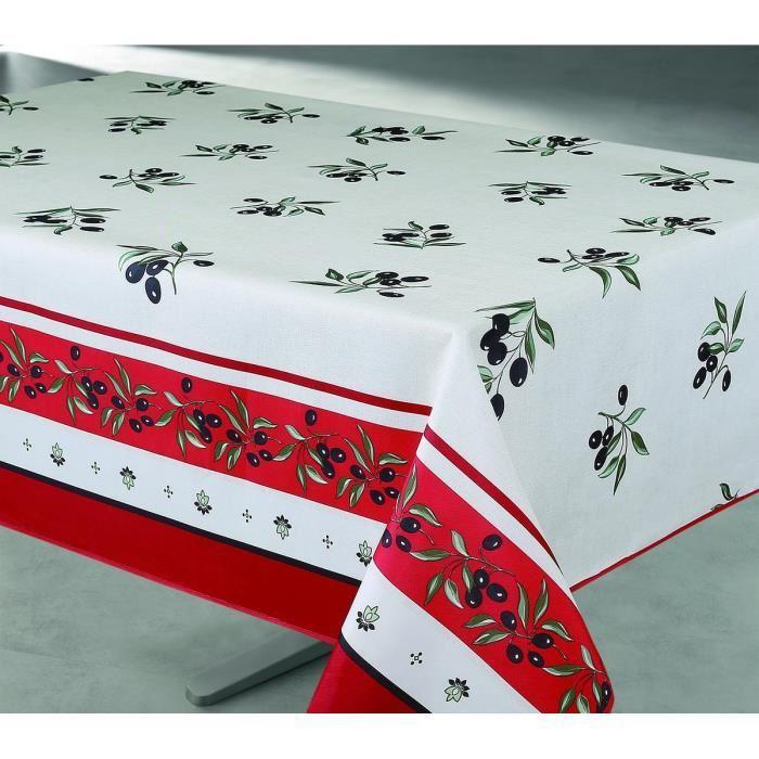 aucune nappe enduite rectangulaire 145x240 cm creme et bordeaux 361023. Black Bedroom Furniture Sets. Home Design Ideas