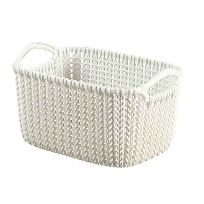 curver paniere de rangement rectangulaire knit 3 l tricot blanc 390771. Black Bedroom Furniture Sets. Home Design Ideas
