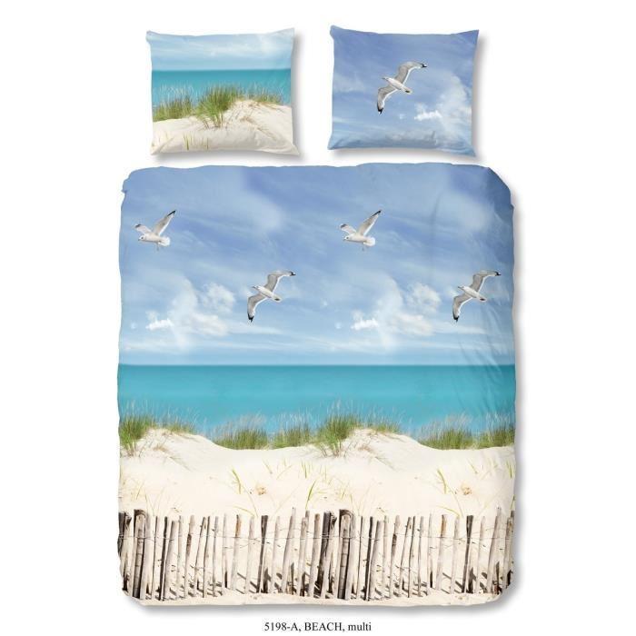 Good morning parure de couette beach 100 coton 1 housse for Parure de couette bleu