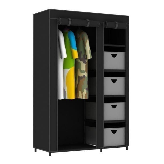aucune armoire penderie en m tal et tissu refermable 177x108x45 cm 240523. Black Bedroom Furniture Sets. Home Design Ideas