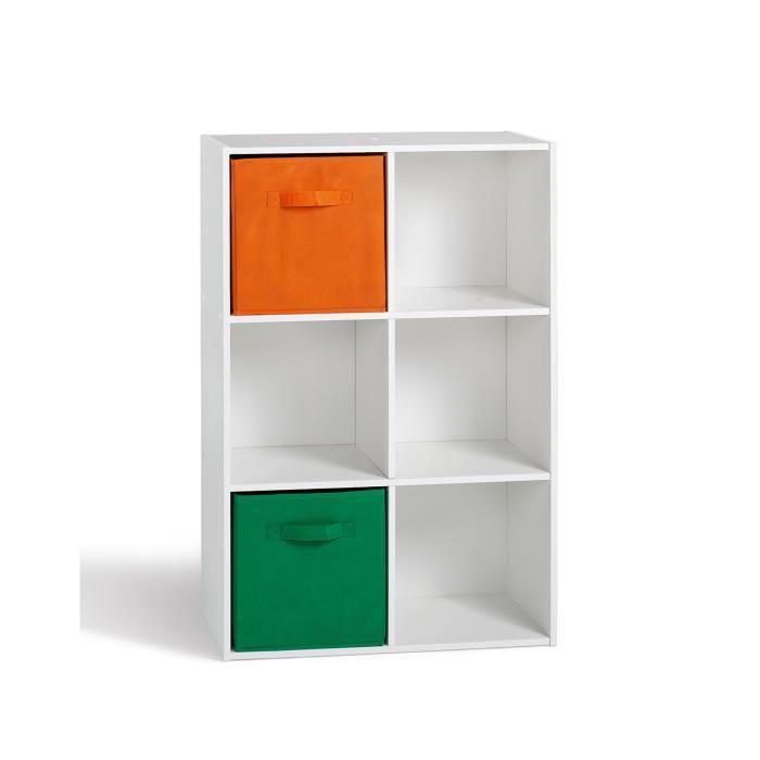 Aucune compo cube 6 cases blanc 247623 for Petit meuble rangement blanc