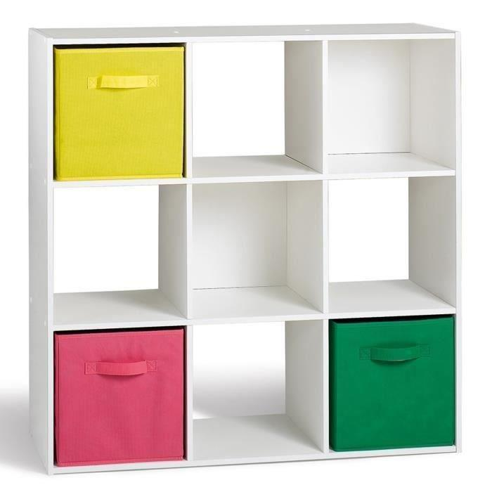 aucune compo lot de 2 cubes 9 cases blanc 358656. Black Bedroom Furniture Sets. Home Design Ideas