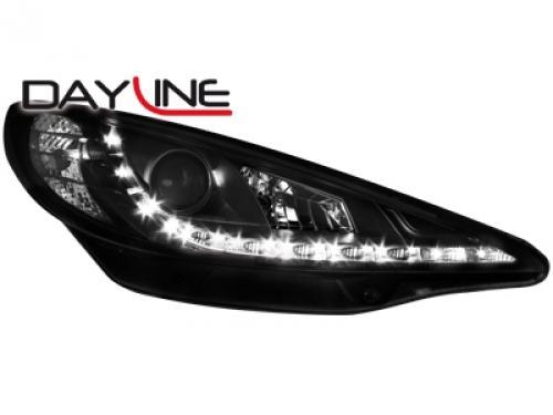 2 phares adaptables pour peugeot 207 ap06 regl elec gamme dayline noir dectane 120093. Black Bedroom Furniture Sets. Home Design Ideas