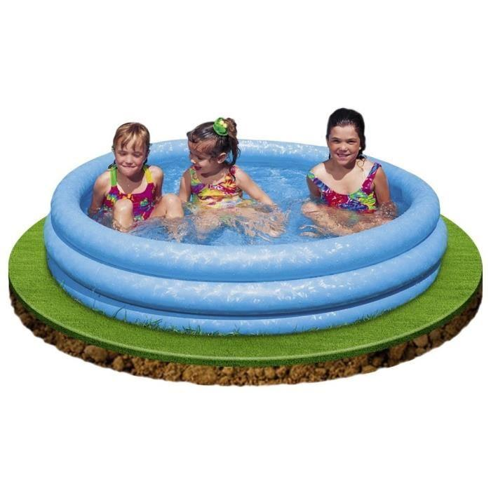 Color baby intex piscinette bleue cristal 3 boudins 379984 for Article piscine