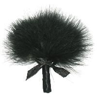 Plumeaux et Fouets LRDP - Plumeau noir sur tige avec noeud en satin noir