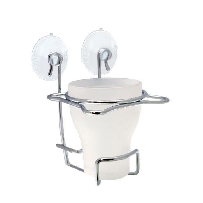 Porte accessoire de salle de bain frandis frandis porte for Distributeur coton ventouse