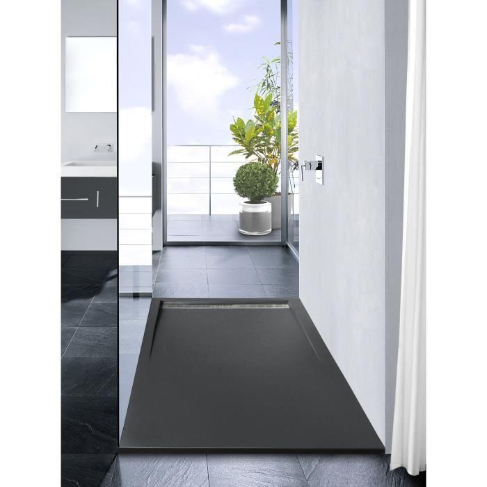 mitola mitola receveur en r sine composite spirit 160x80 anthracite 266624. Black Bedroom Furniture Sets. Home Design Ideas