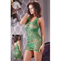 Robes resille Mandy Mystery - Robe resille transparente verte S/L