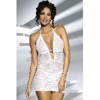 Robes resille Obsessive - Robe brillante Jennifer blanche - Taille L/XL