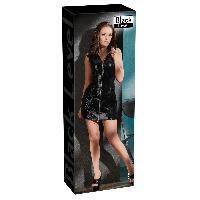 Robes sexy Black Level - Robe en Vinyle avec Zip - S Noir