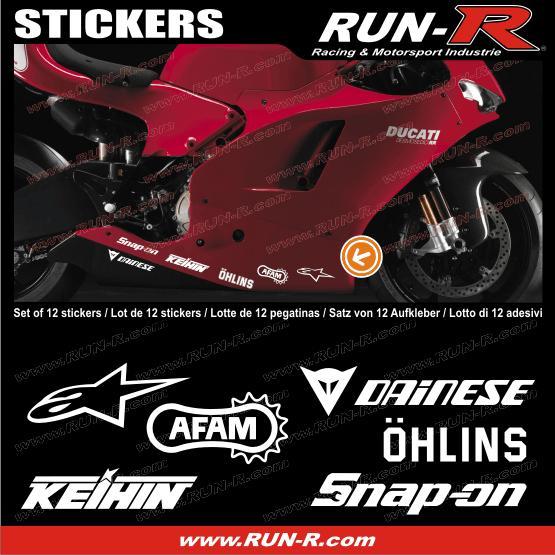 run r stickers 12 stickers moto gp pour ducati blanc adnauto 126741. Black Bedroom Furniture Sets. Home Design Ideas