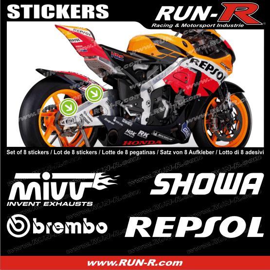 run r stickers 8 stickers moto gp pour honda blanc adnauto 126723. Black Bedroom Furniture Sets. Home Design Ideas
