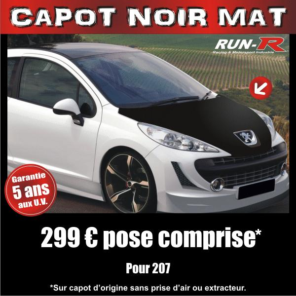 run r stickers capot noir mat pour peugeot 207 adnauto 127973. Black Bedroom Furniture Sets. Home Design Ideas
