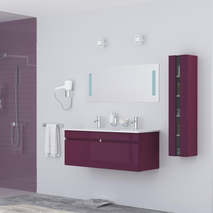 alban salle de bain complete double vasque 120 cm laqu aubergine brillant 355328. Black Bedroom Furniture Sets. Home Design Ideas