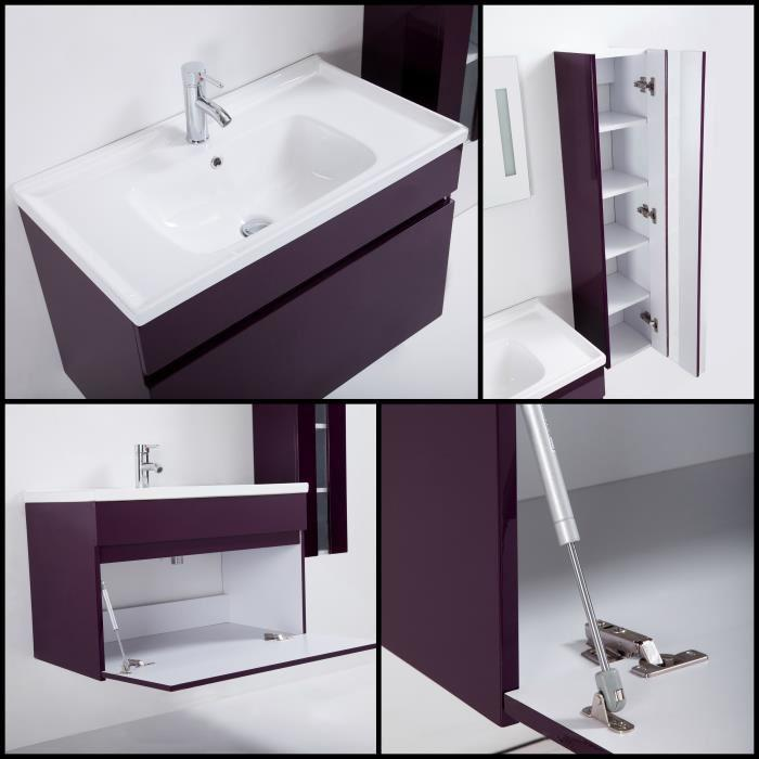 alban salle de bain complete simple vasque 80 cm laque aubergine brillant 355326. Black Bedroom Furniture Sets. Home Design Ideas