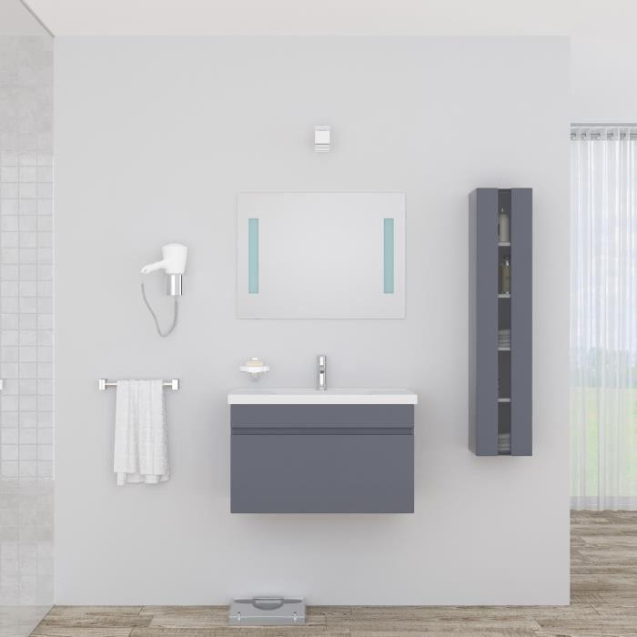 Alban salle de bain complete simple vasque 80 cm laqu for Salle de bain complete