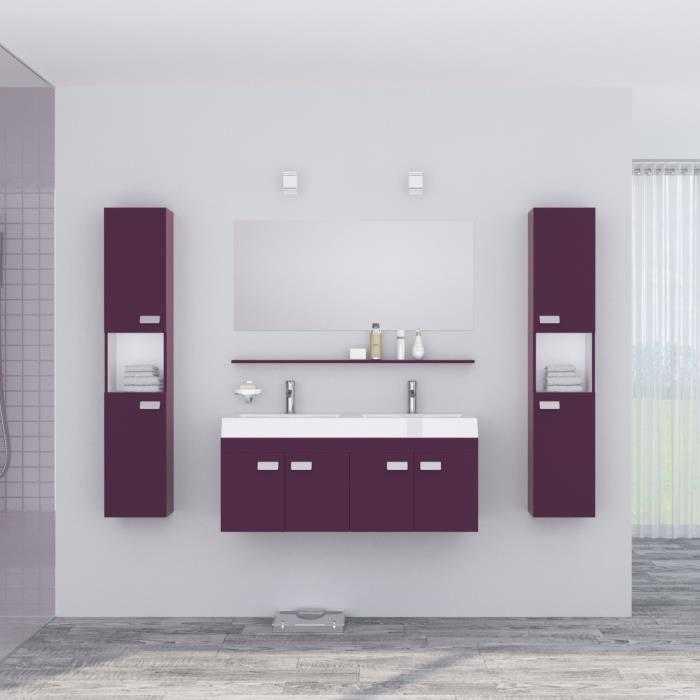 alpos salle de bain complete double vasque 120 cm laque aubergine brillant 355334. Black Bedroom Furniture Sets. Home Design Ideas