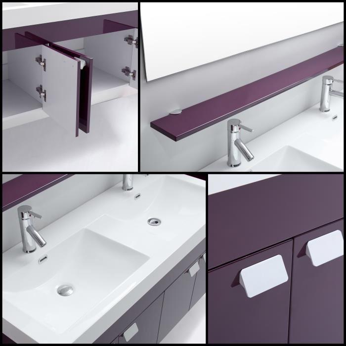 Alpos Salle De Bain Complete Double Vasque 120 Cm Laqu Aubergine Brillant 355334