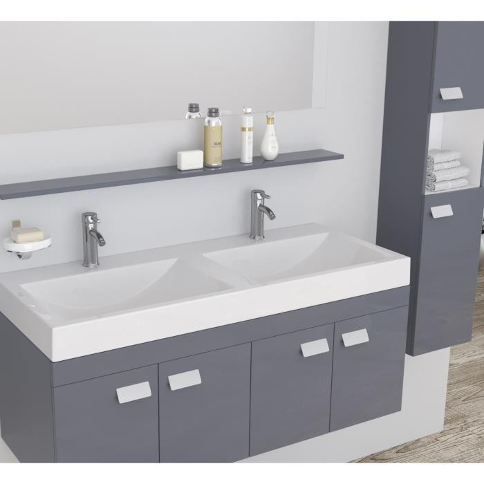 alpos salle de bain complete double vasque 120 cm laque gris brillant 355336. Black Bedroom Furniture Sets. Home Design Ideas