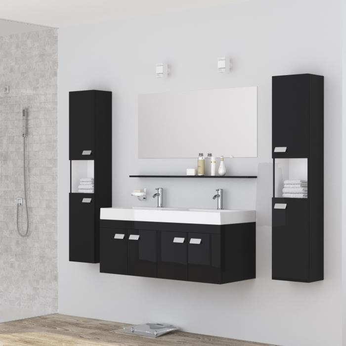 alpos salle de bain complete double vasque 120 cm laqu noir brillant 355337. Black Bedroom Furniture Sets. Home Design Ideas