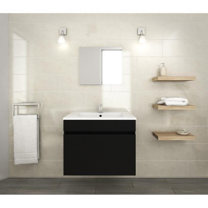 lana ensemble de meubles de salle de bain vasque miroir meuble sous vasque 60 cm noir. Black Bedroom Furniture Sets. Home Design Ideas