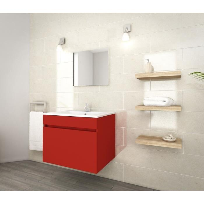 lana ensemble de meubles de salle de bain vasque miroir meuble sous vasque 60 cm rouge. Black Bedroom Furniture Sets. Home Design Ideas