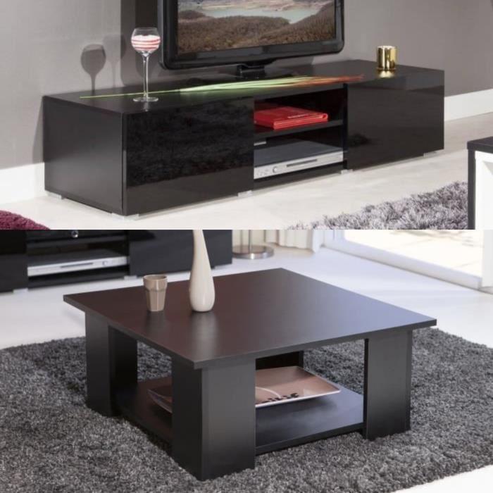 Lime salon complet coloris noir 2 pieces 1 meuble tv 140cm for Ensemble salon complet
