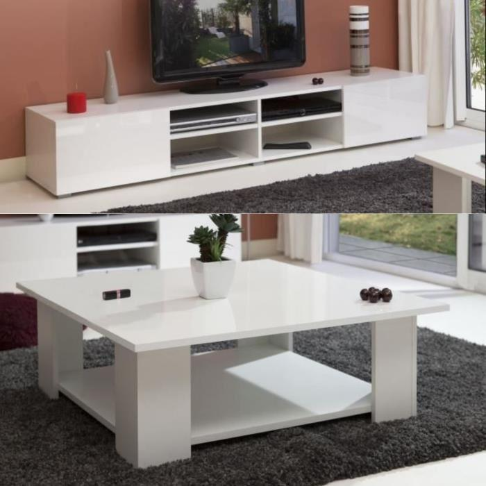 Lime salon complet laqu blanc 2 pieces 1 meuble tv 185cm for Acheter salon complet