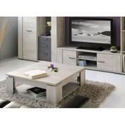 Loft salon complet d cor gris 2 pieces 1 meuble tv 151cm for Ensemble salon complet