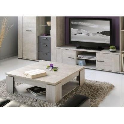 Loft salon complet d cor gris 2 pieces 1 meuble tv 151cm for Salon complet gris