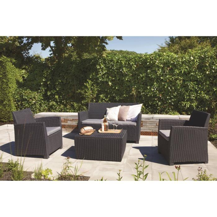 allibert corona salon de jardin aspect rotin tresse rond 266886. Black Bedroom Furniture Sets. Home Design Ideas