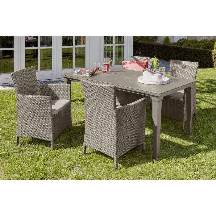 allibert futura ensemble table de jardin 165 cm 4 fauteuils 266891. Black Bedroom Furniture Sets. Home Design Ideas